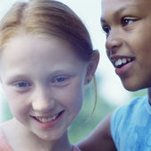 Close up portrait of two girls — Stock Photo