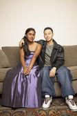 Portrait of teenage couple hugging — Stock Photo
