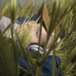 Teenage boy listening to headphones in grass - Stockfoto