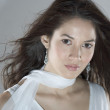 Close up portrait of woman in white dress — ストック写真