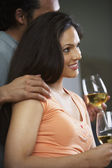 Profile of couple drinking wine — Stock Photo