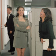 Businesswomen talking in office space — Stock Photo
