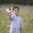 Portrait of boy holding bouquet of flowers in field — Stock Photo