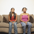 Portrait of two teenage girls — Stock Photo