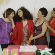 Women socializing at a birthday party — Stock Photo