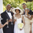 Stock Photo: Wedding guests toasting bride and groom