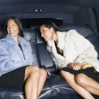 Two women in fur coats in backseat of car — Stock Photo #18574733