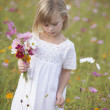 Girl in field picking wildflowers - Stock Photo