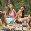 Royalty-Free Stock Photo: Group of young women talking outdoors