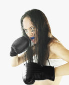Female boxer ready to fight — Stock Photo
