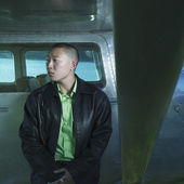 Hombre apoyado en avión — Foto de Stock