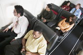 High angle view of passengers on airplane — Stock Photo