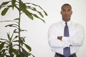 Portrait of a mid adult businessman standing with arms folded — Stock Photo