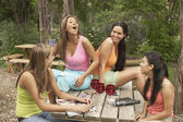 Group of young women talking outdoors — Stock Photo