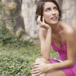 Young sitting woman listening to music - Foto de Stock  