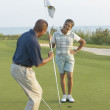 Senior couple playing golf — Stock Photo