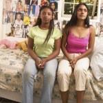 Portrait of two teenage girls in bedroom — Stock Photo #23218448