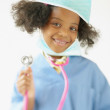 Little girl dressed as doctor — Stock Photo