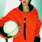 porträtt av kvinnliga astronaut — Stockfoto