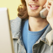 Man talking on telephone — Stock Photo