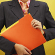 Stock Photo: Midsection of businesswoman holding files