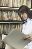 Female doctor reading files — Stock Photo