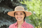 Portrait of woman wearing hat — Stock Photo