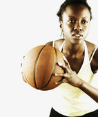 Woman holding basketball — Stock Photo
