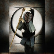 Portrait of woman fencer — Stock Photo