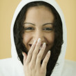Stock Photo: Young womin sweatshirt laughing