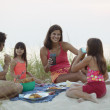 Family eating picnic on beach — Stock Photo