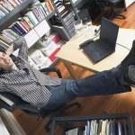 vista de alto ângulo do empresário no escritório — Foto Stock