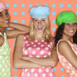 Teenage girls posing with hats and polka dots — Zdjęcie stockowe