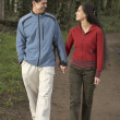 Couple holding hands and walking — Stock Photo