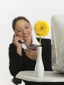 Young businesswoman talking on cell phone — Stock Photo