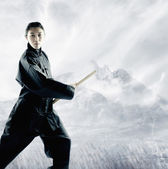 Portrait of a young woman holding a wooden stick standing in a martial arts stance — Stock Photo
