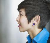 Side profile of a young businesswoman — Stock Photo