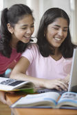Two sisters doing homework with computer — Stock Photo