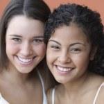 Portrait of two teenage girlfriends — Stock Photo #23231874