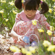 Girl gathering Easter eggs — Stock Photo #23232992