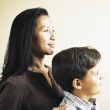 Mother and son posing in family portrait — Stock Photo