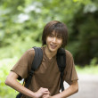 Portrait of boy hiking — Stock Photo