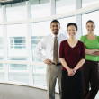 Portrait of group standing by windows — Stock Photo