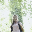 Female hiker standing in a forest — Stock Photo