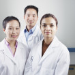 Group portrait of technicians in lab coats — Stock Photo