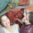 Overhead view of young couple in a tent - 