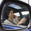 View of woman on her cell phone through the rear view mirror of car — Stock Photo #23236958