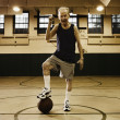 Elderly man playing basketball - Stok fotoğraf