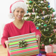 Woman holding a Christmas present — Stock Photo