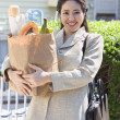 Portrait of woman in suit holding groceries - Stock Photo